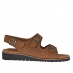 Men's sandal in tobacco brown nubuck leather with buckles