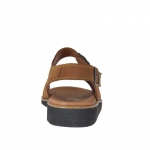Sandalo da uomo in nabuk marrone tabacco con fibbie - Misure disponibili: 48