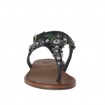 Tong sandale pour femmes en cuir noir avec decorations de fleurs et strass - Pointures disponibles:  32