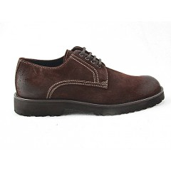 Laced men's sports shoe in brown leather - Available sizes:  47, 50