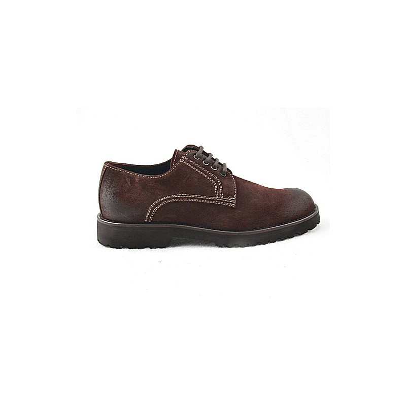 Laced men's sports shoe in brown leather - Available sizes:  47, 50, 51