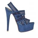 Sandale pour femmes avec plateforme, 3 bandes et tissu résille en daim bleu talon 15