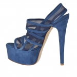Woman's platform sandal with 3 bands and net in blue suede heel 15