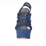 Sandale pour femmes avec plateforme, 3 bandes et tissu résille en daim bleu talon 15 - Pointures disponibles:  31
