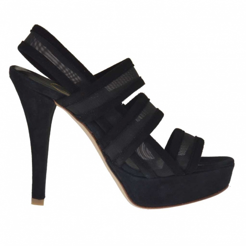 Woman's platform sandal with 3 bands and net in black suede heel 12 - Available sizes:  42