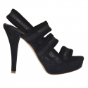 Woman's platform sandal with 3 bands and net in black suede heel 12