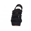 Sandale pour femmes avec plateforme, 3 bandes et tissu résille en daim noir talon 12 - Pointures disponibles:  42