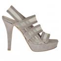 Sandale pour femmes avec plateforme, 3 bandes et tissu résille en daim boue talon 12