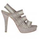 Woman's platform sandal with 3 bands and net in mud-coloured suede heel 12