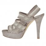Sandale pour femmes avec plateforme, 3 bandes et tissu résille en daim boue talon 12 - Pointures disponibles:  42