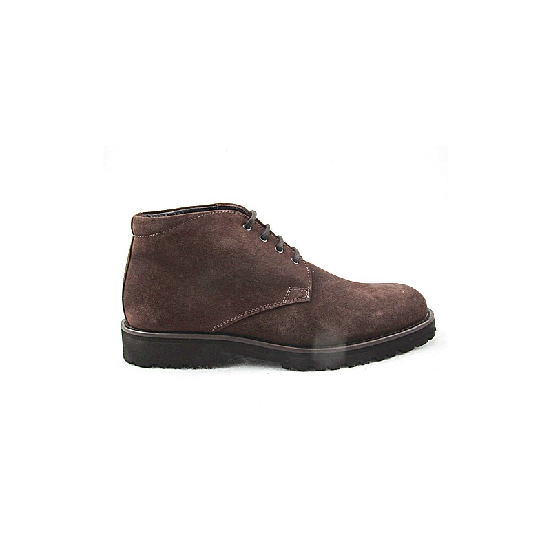 Laced ankle boot for men in brown suede - Available sizes:  50