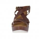 Sandale pour femmes avec plateforme en cuir brun talon compensé 9 - Pointures disponibles:  42