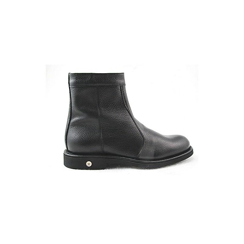 Bottines avec fermeture éclair pour hommes en cuir noir - Pointures disponibles:  36, 48