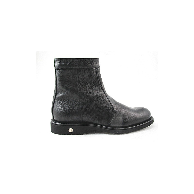Men's ankle boot with zipper in black leather - Available sizes:  36, 48
