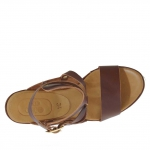 Woman's sandal in brown leather with ankle wrap, platform and wedge 9 - Available sizes:  42