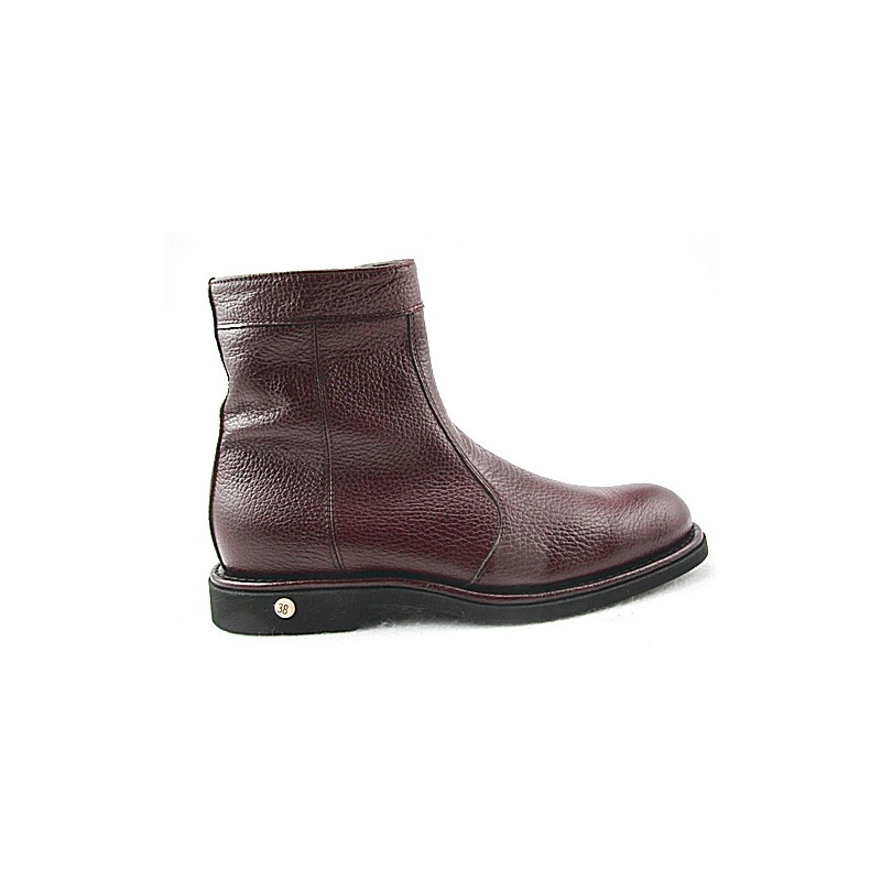 Men's ankle boot with zipper in brown leather - Available sizes:  47, 48, 50