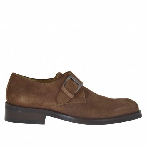 Zapato para hombre con hebilla en gamuza de color tabaco - Tallas disponibles:  39, 40, 43, 44, 45, 50, 51, 52, 53, 54