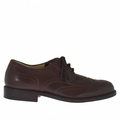 Men's laced shoe with Brogue decorations in brown leather - Available sizes:  36, 48