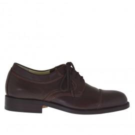 Zapato con cordones para hombres en piel de color marron - Tallas disponibles: 48