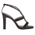 Sandale pour femmes avec plateforme et strass en cuir noir talon 10