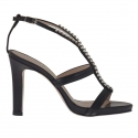 Woman's platform sandal with strass in black leather heel 10