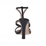 Sandale pour femmes avec plateforme et strass en cuir noir talon 10 - Pointures disponibles:  47