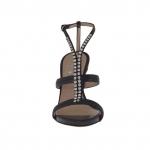 Sandale pour femmes avec plateforme et strass en cuir noir talon 10 - Pointures disponibles:  31, 47