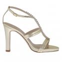 Sandale pour femmes avec plateforme et strass en cuir lamé platine talon 10