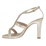 Woman's platform sandal with strass in platinum lamé leather heel 10