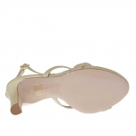 Sandale pour femmes avec plateforme et strass en cuir lamé platine talon 10 - Pointures disponibles:  47