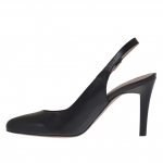 Woman's slingback pump in black leather heel 9