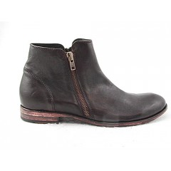 Men's ankle boot with zippers in dark brown leather - Available sizes:  50