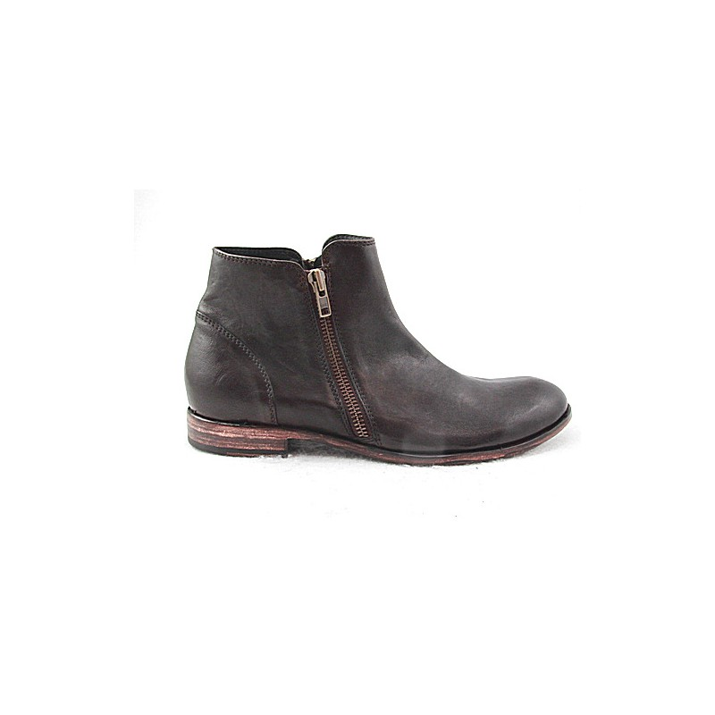 Ankle boot in dark brown leather - Available sizes:  50