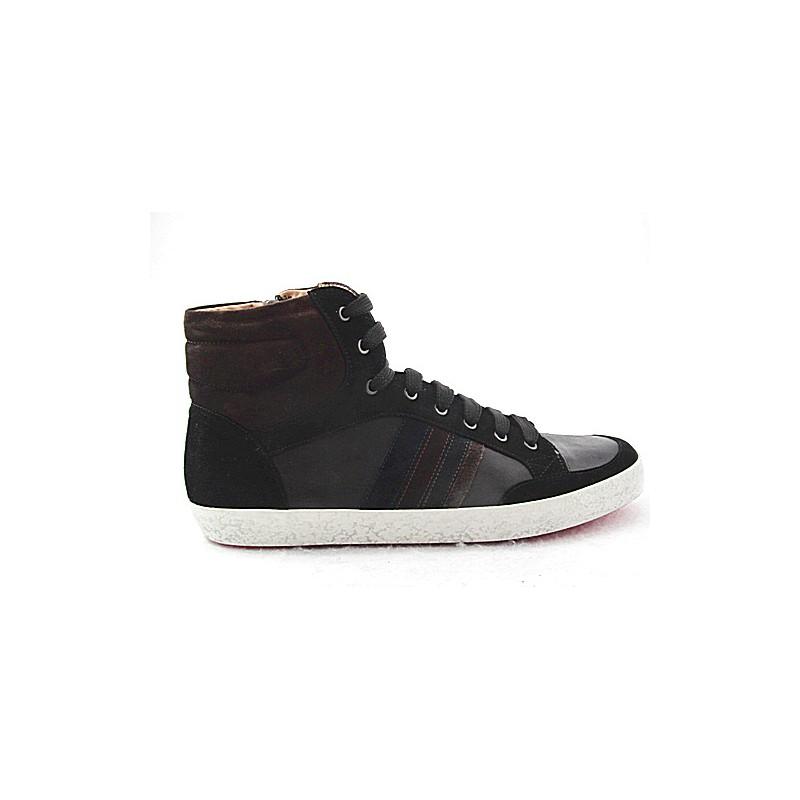 botte en daim noir et cuir brun + - Pointures disponibles:  47