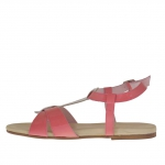 Woman's sandal in fucsia and creme coloured patent leather - Available sizes:  33