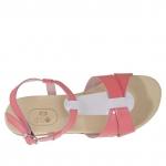 Sandale pour femmes en cuir verni fuchsia et crème - Pointures disponibles:  33