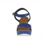 Sandale pour femmes en cuir bleu avec courroie, plateforme et talon compensé 9 - Pointures disponibles:  42