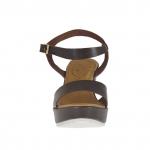 Sandale pour femmes en cuir brun foncé avec courroie, plateforme et talon compensé 9 - Pointures disponibles:  42, 43