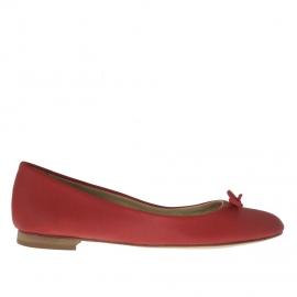 Ballerina da donna con fiocco in pelle rossa - Misure disponibili: 32