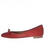 Ballerina pour femmes avec arc en cuir rouge - Pointures disponibles:  32
