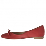 Woman's ballerina shoe with bow in red leather - Available sizes:  32