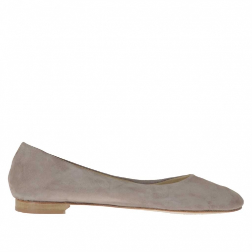 Woman's ballerina shoe in taupe suede