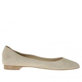 Zapato bailarina para mujer en gamuza arena - Tallas disponibles:  42