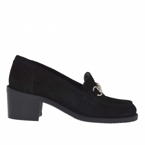 Woman's mocassin in black suede with metal accessory heel 5 - Available sizes:  42