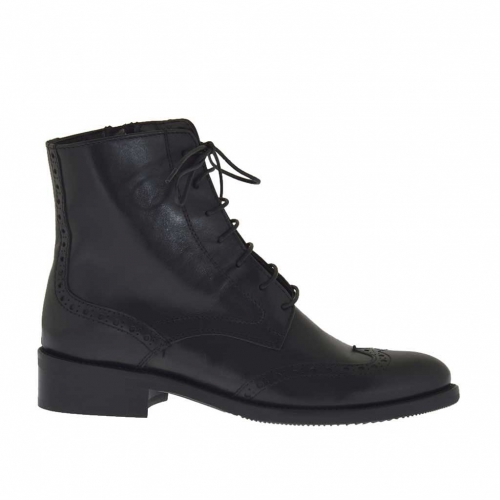 Woman's laced ankle boot Oxford style with zipper in black leather heel 3 - Available sizes:  46