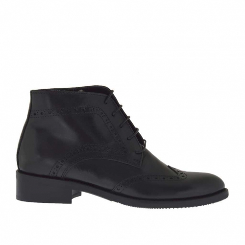 Woman's laced ankle boot Oxford style in black leather heel 3 - Available sizes:  47