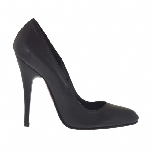 Woman's pump in black leather with opaque heel 10 - Available sizes:  32