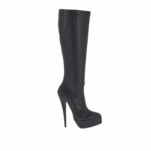 Bottes pour femmes avec plateforme et fermeture éclair en cuir noir talon 15 - Pointures disponibles:  33, 34