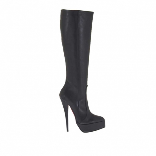 Woman's boot with platform and zipper in black leather heel 15 - Available sizes:  33, 34