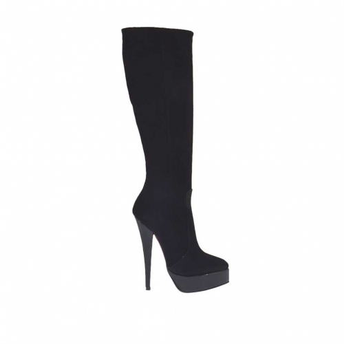 Woman's boot with zipper in black suede with laquered platform and heel 15 - Available sizes:  34, 43